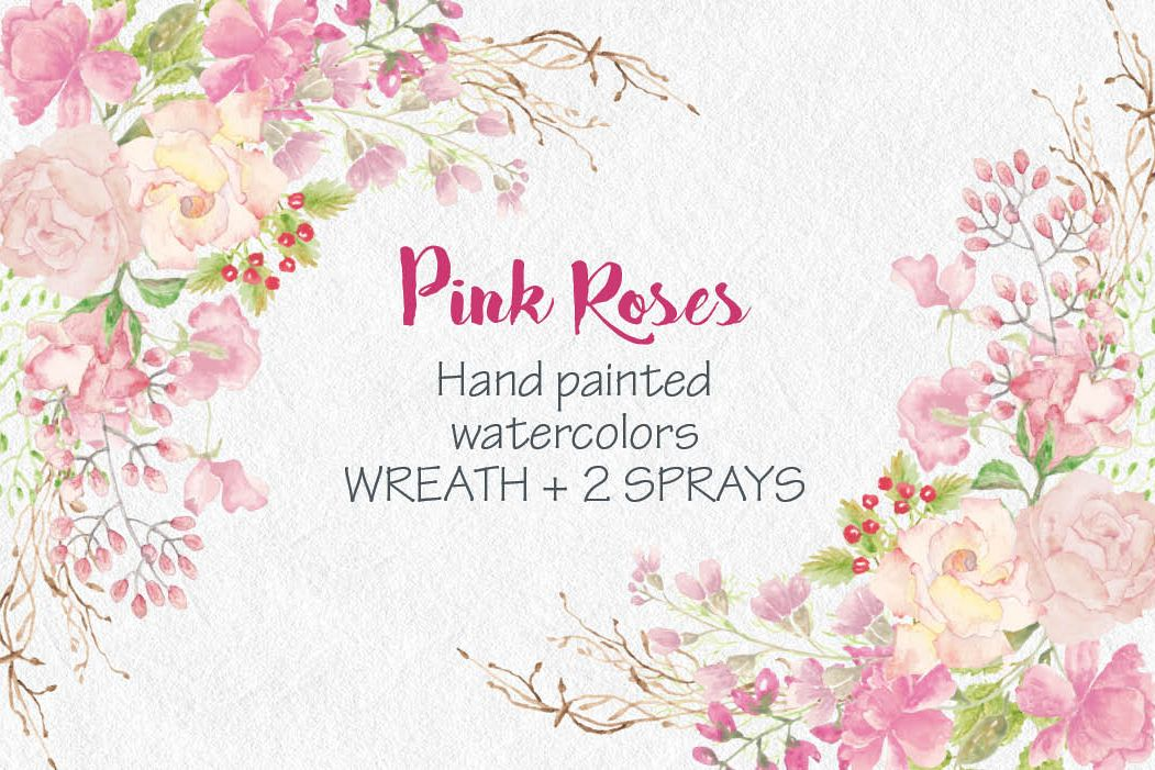 Wreath of pink watercolor roses example image 1