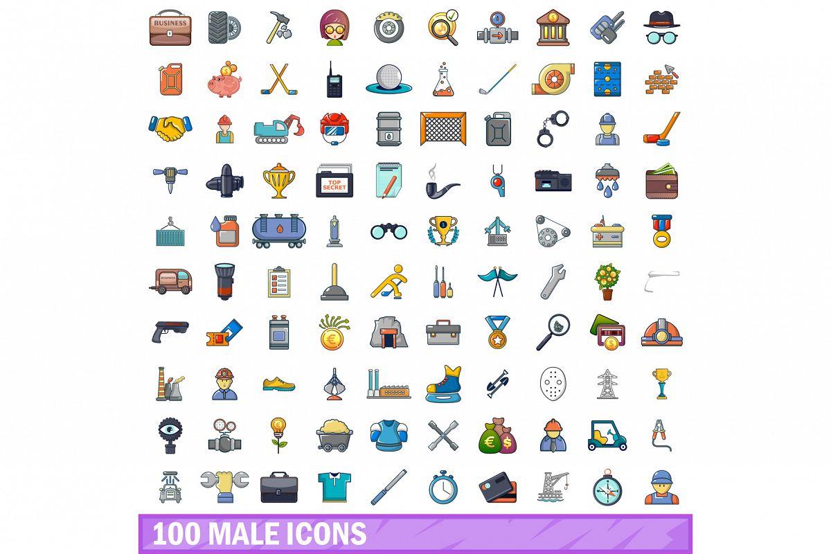 100 male icons set, cartoon style example image 1