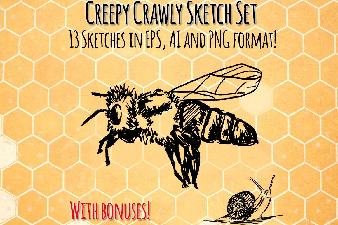 Creepy Crawly Bugs Vector Sketchbook Graphics example image 1