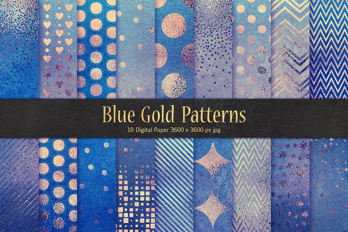 Blue Gold Pattern & Foil Textures example image 1