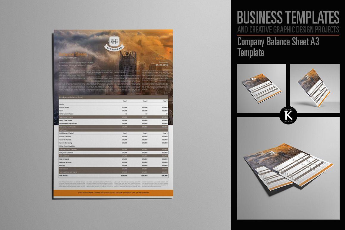 Company Balance Sheet A3 Template example image 1
