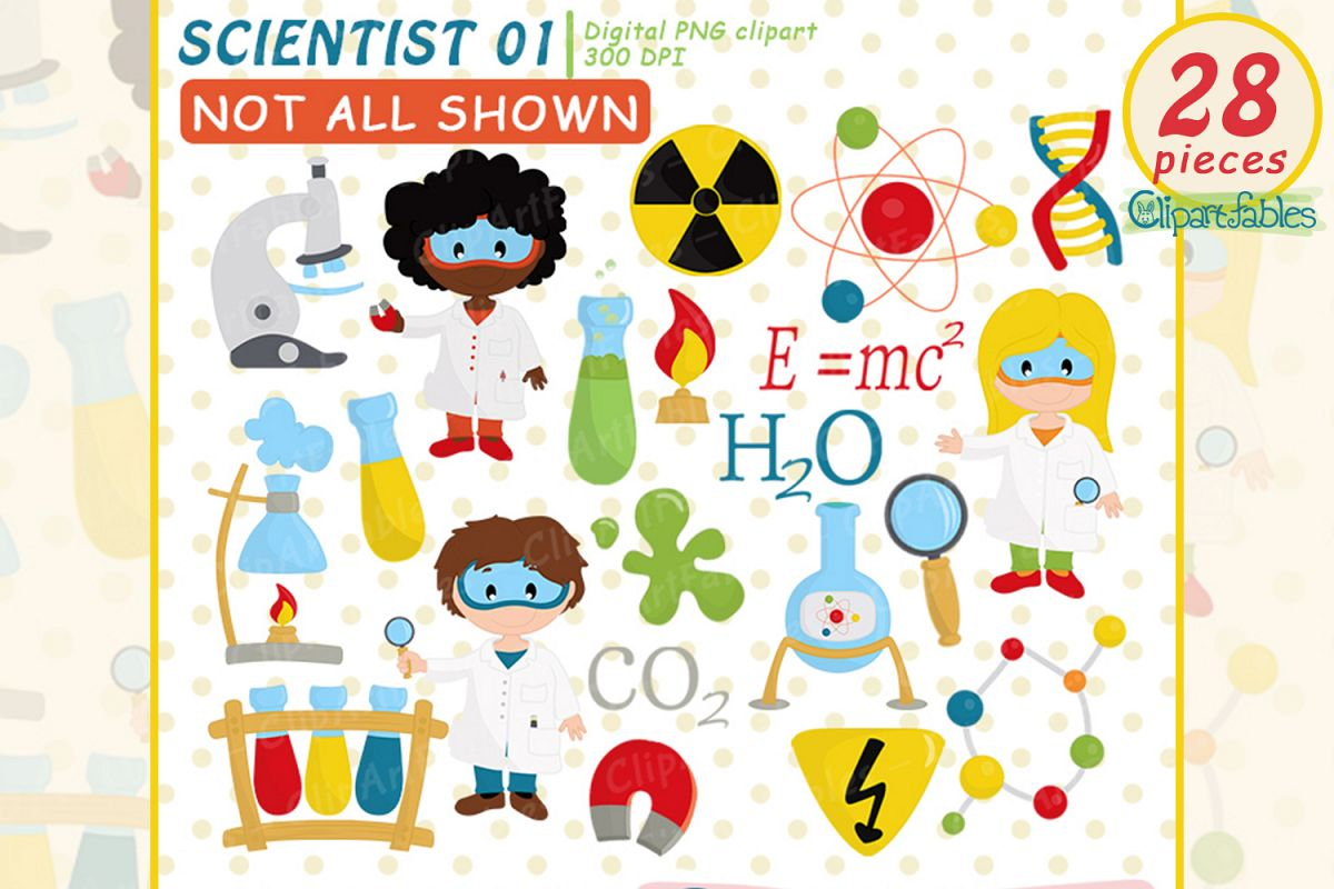 Scientist Kids clipart, Cute science Kids, Science Clip art example image 1