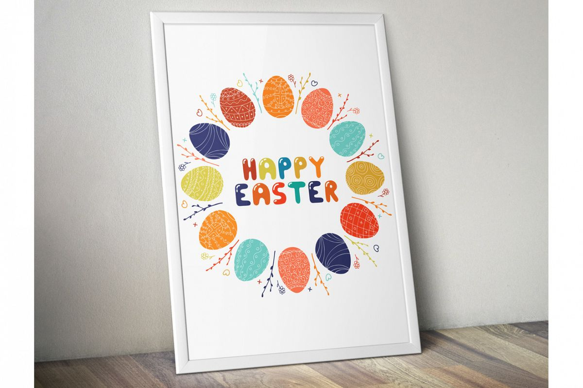 Happy easter round frame, card. example image 1