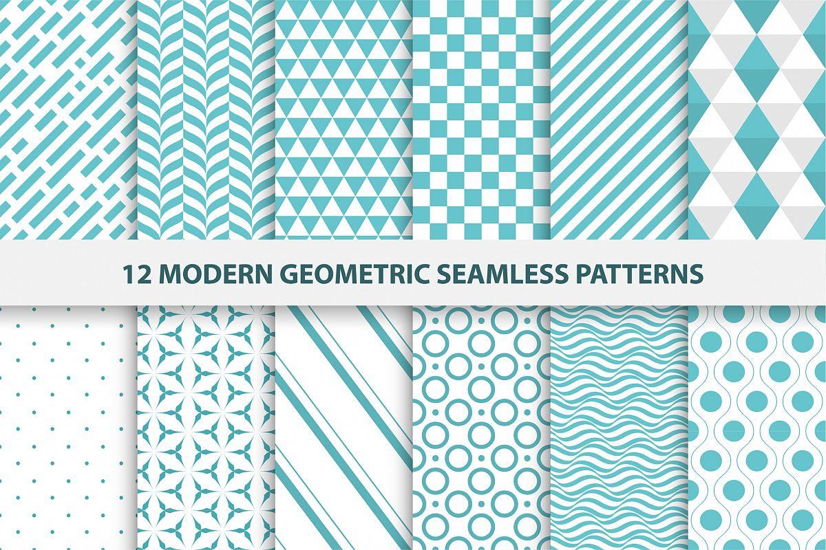 Modern geometric seamless patterns. example image 1