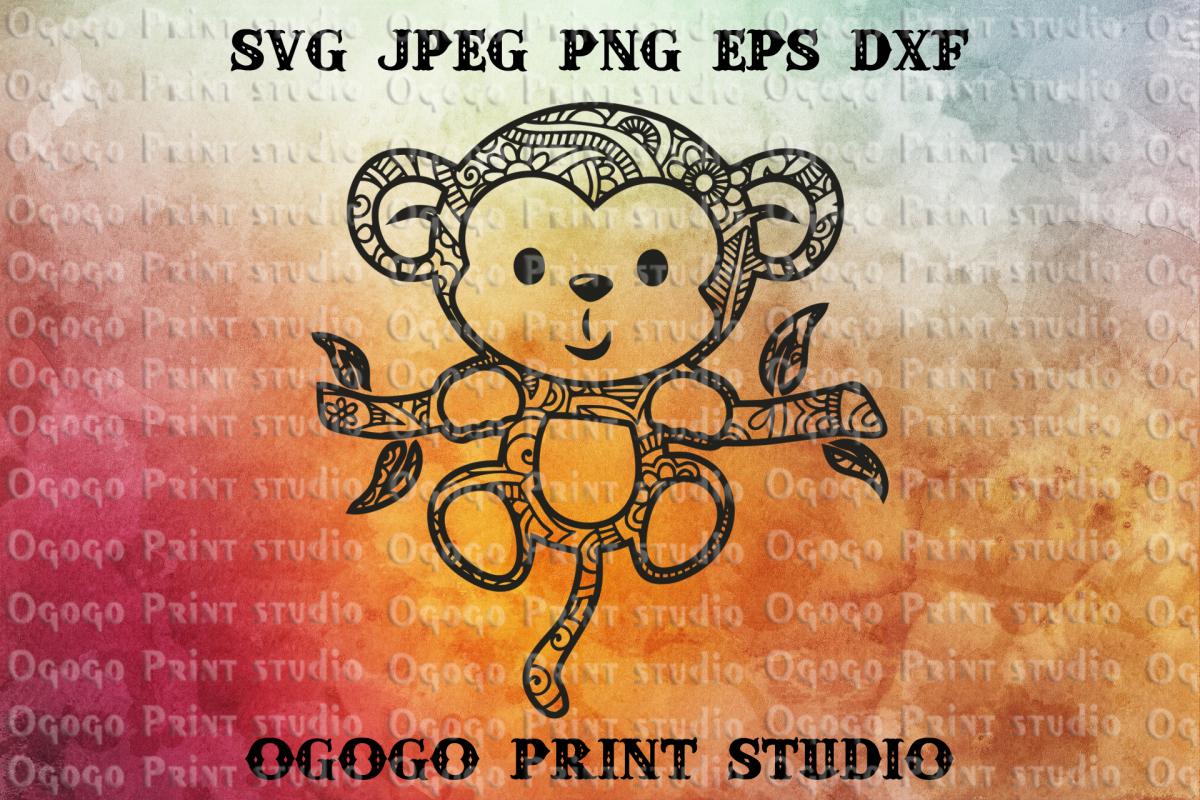 Monkey svg, Mandala SVG, Zentangle Svg, Animal svg example image 1