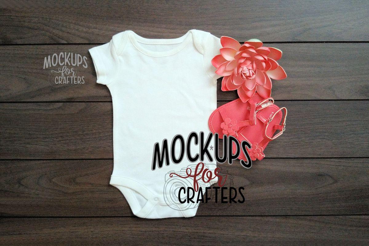 White 1-piece baby bodysuit MOCK-UP example image 1