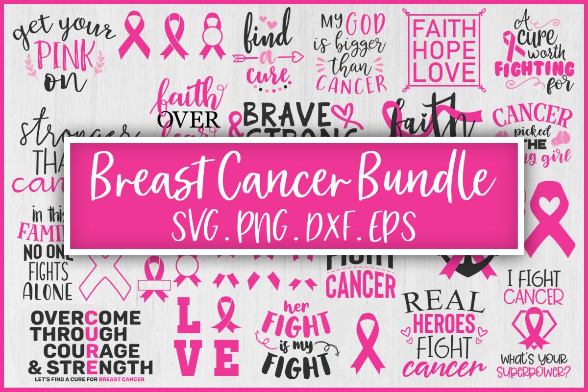 SALE! Breast cancer bundle svg example image 1