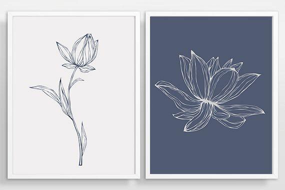 Flower Wall Art, Print Set of 2, Blue Flower, Abstract Flower, Blue ...