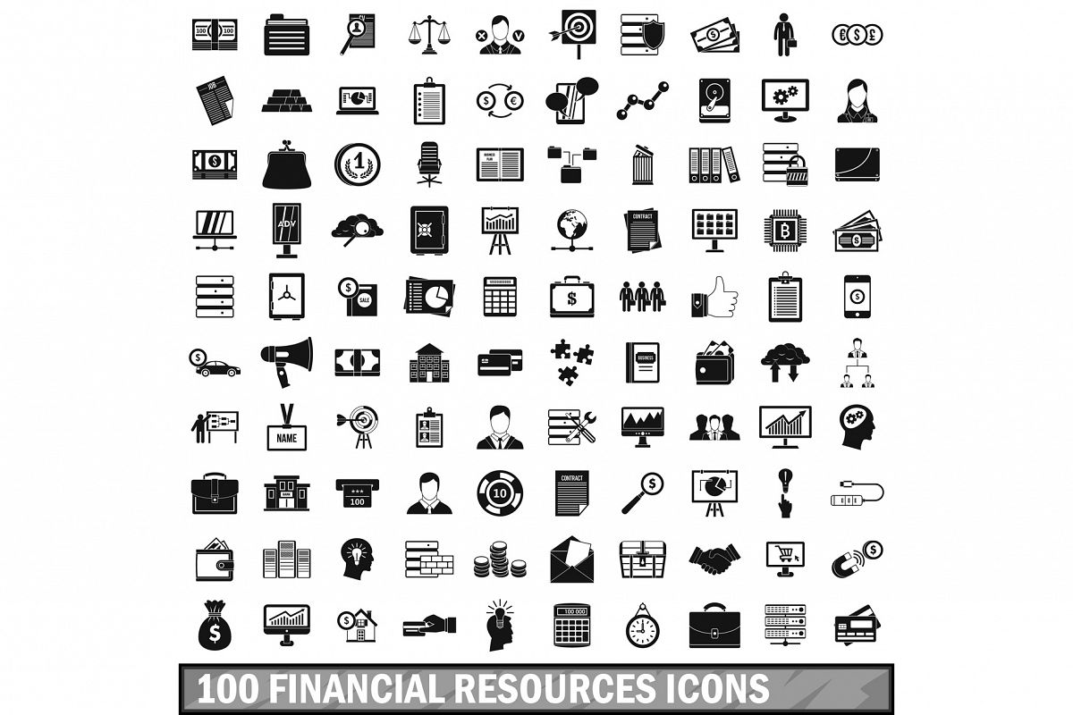 100 financial resources icons set, simple style example image 1
