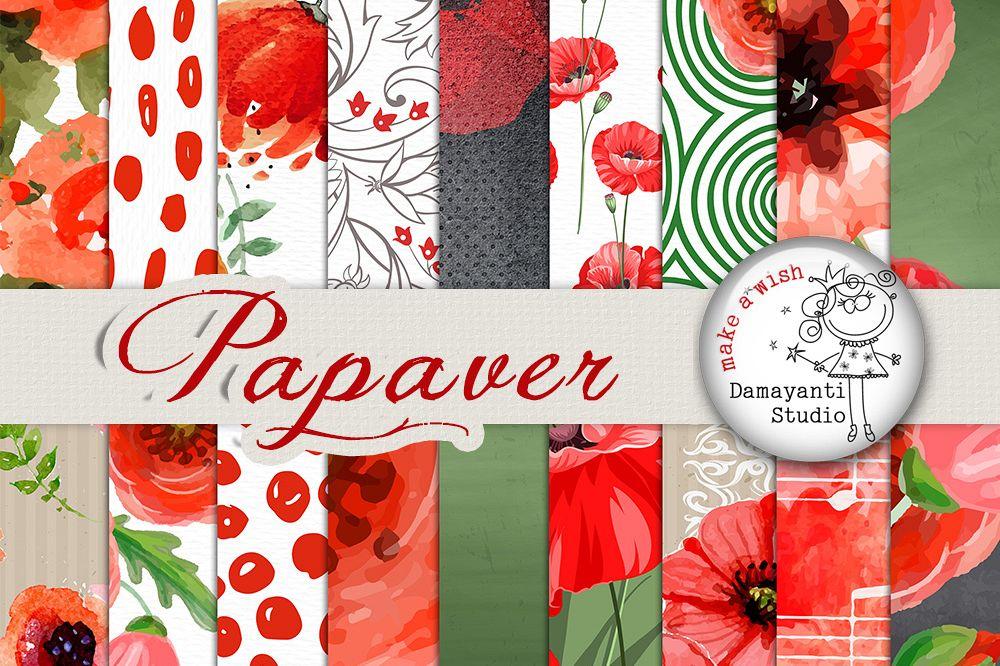 Poppy flower digital paper patterned paper watercolor flowers poppy flower digital paper patterned paper watercolor flowers seamless pattern poppies paper mightylinksfo
