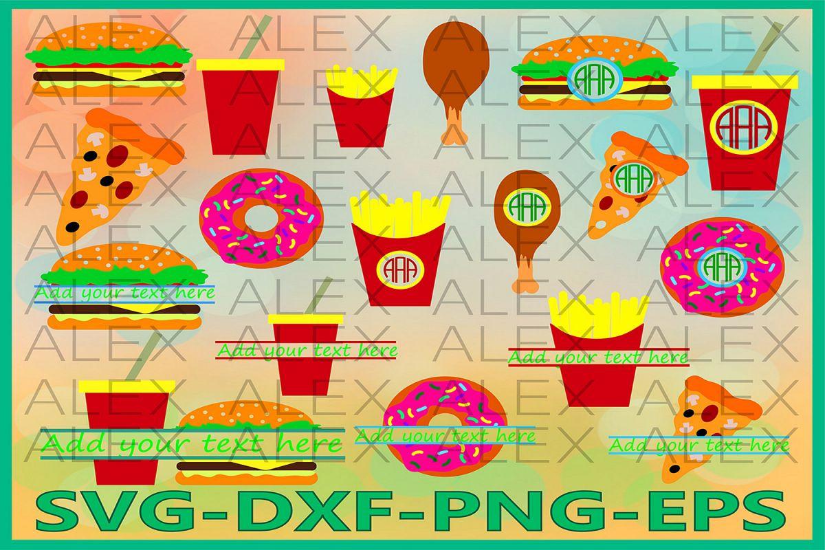 Fast Food Monogram Files, Burger, Fast Food Svg Files example image 1