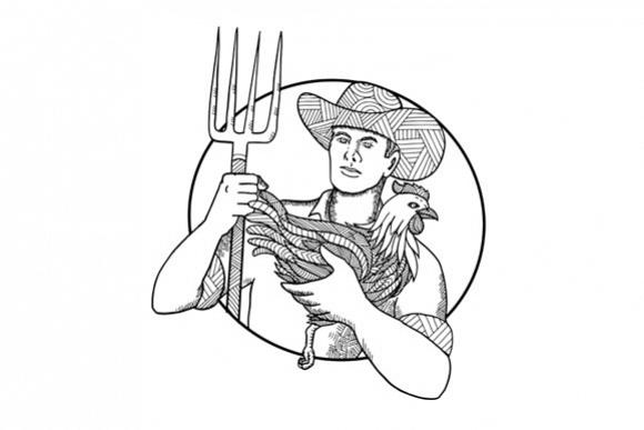 Farmer Holding Hen Pitchfork Zentagle  example image 1