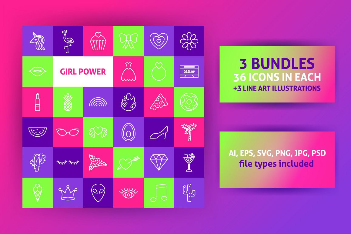 Girl Power Line Art Icons example image 1