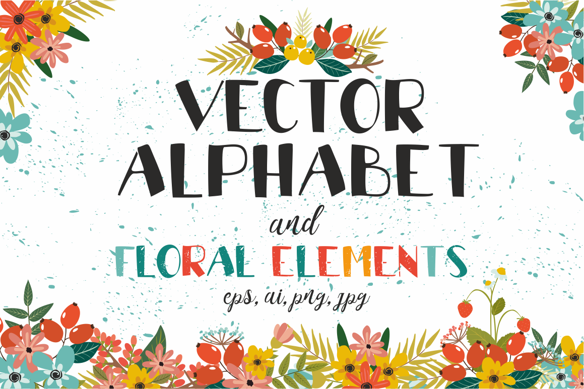 Vectot alphabet and floral elements example image 1