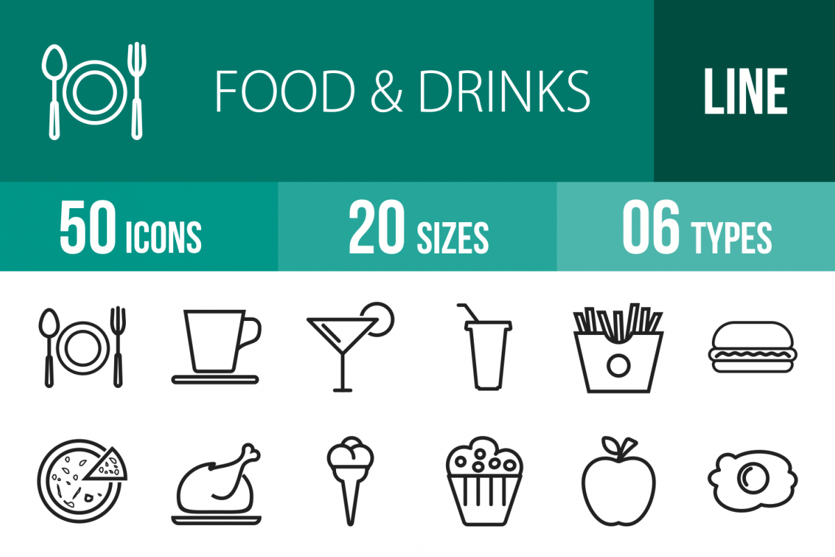 50 Food Line Icons example image 1