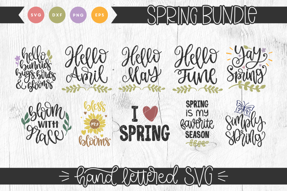 Spring Hand Lettered SVG Bundle example image 1