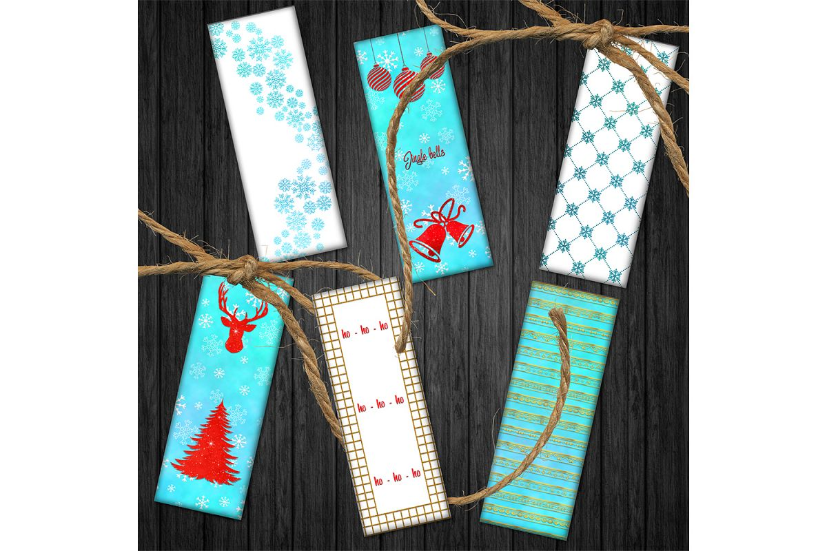 Winter Bookmarks,Christmas Tree Bookmarks, Printable Images example image 1