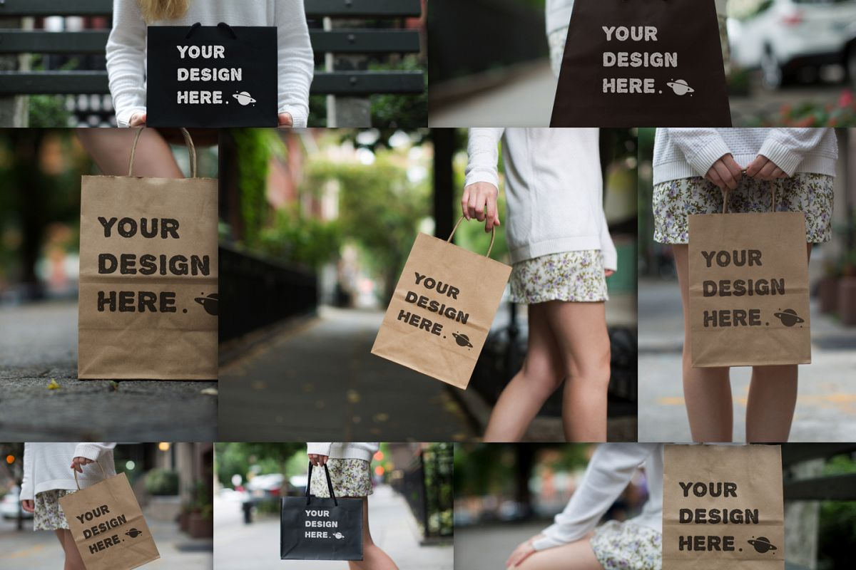 Set from 8 paper bags Mockups example image 1