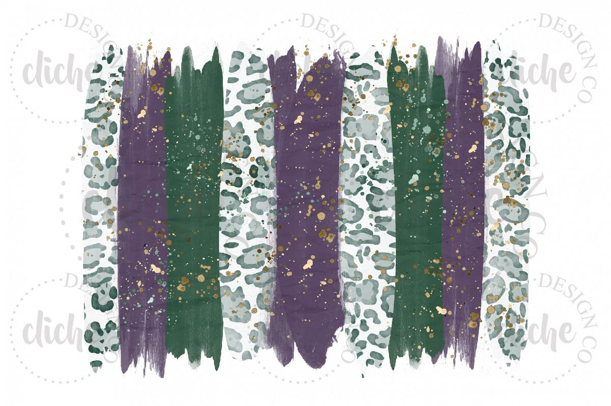 Purple Green Paint Stroke Sublimation Design Background example image 1
