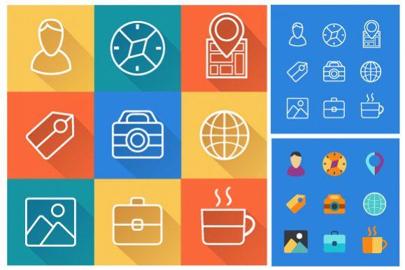 Set icons flat example image 1