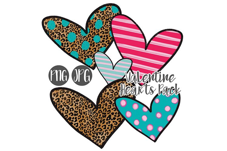 Hand Drawn Valentine Hearts Clipart Pack example image 1