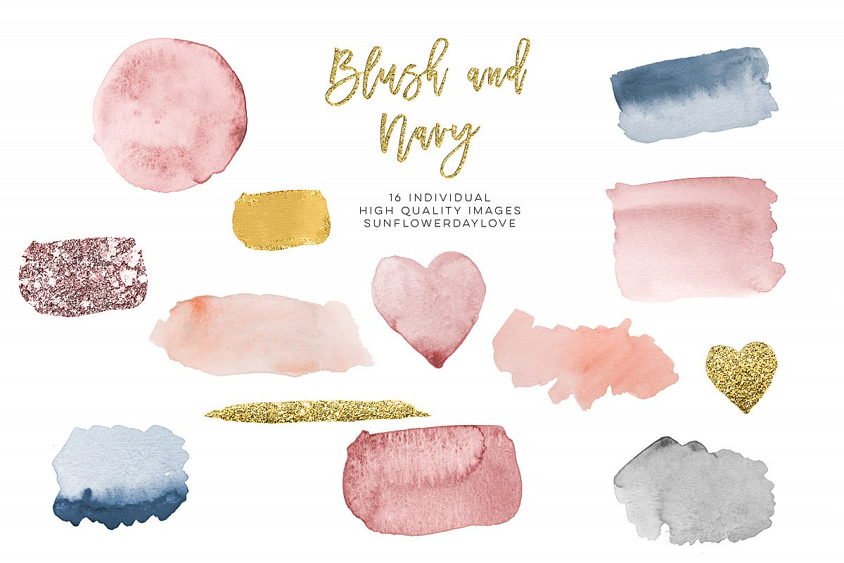 Blush & Navy Watercolor Gold design clipart example image 1