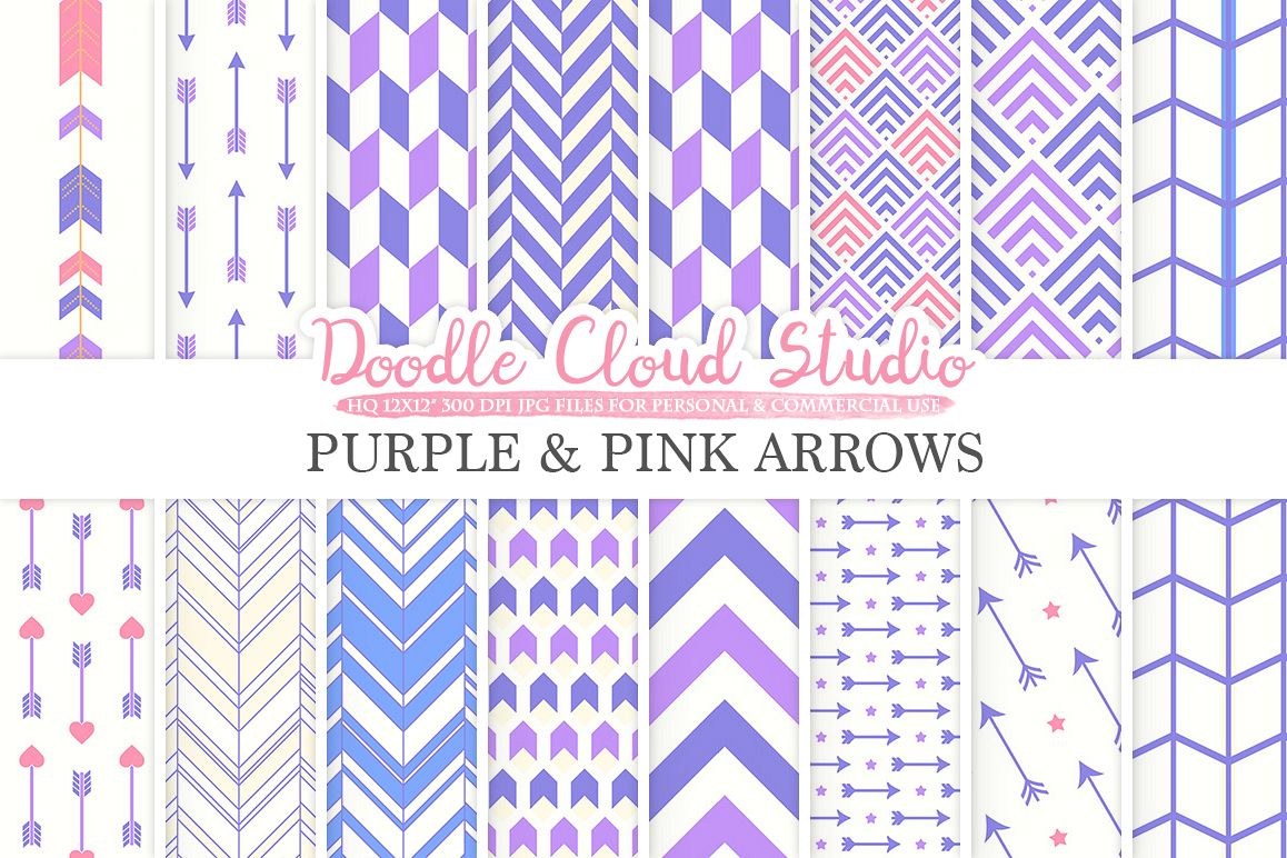 Purple and Pink Arrows digital paper, Arrow patterns, tribal, archery, chevron triangles Orange backgrounds for Personal & Commercial Use example image 1