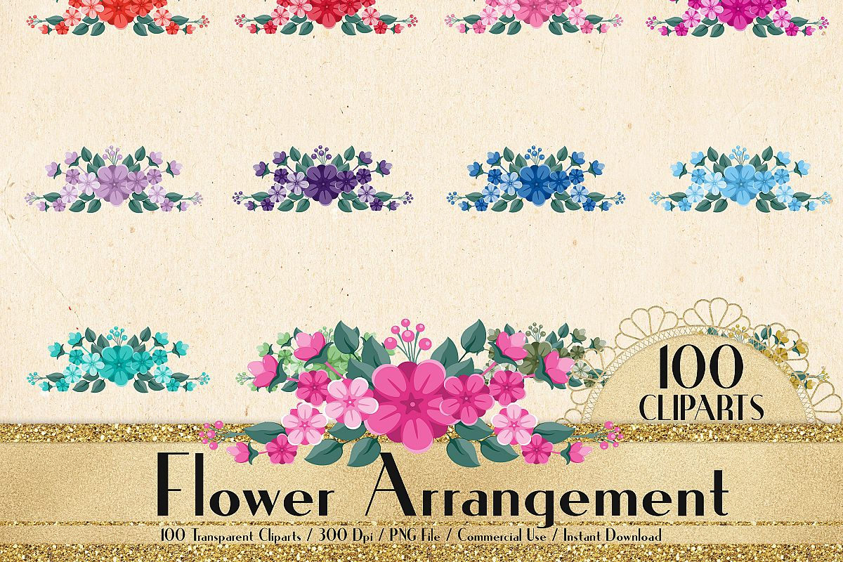 100 flower arrangement clip arts flower border bridal shower example image 1