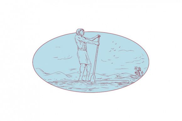 Guy Stand Up Paddle Tropical Island Oval Drawing example image 1