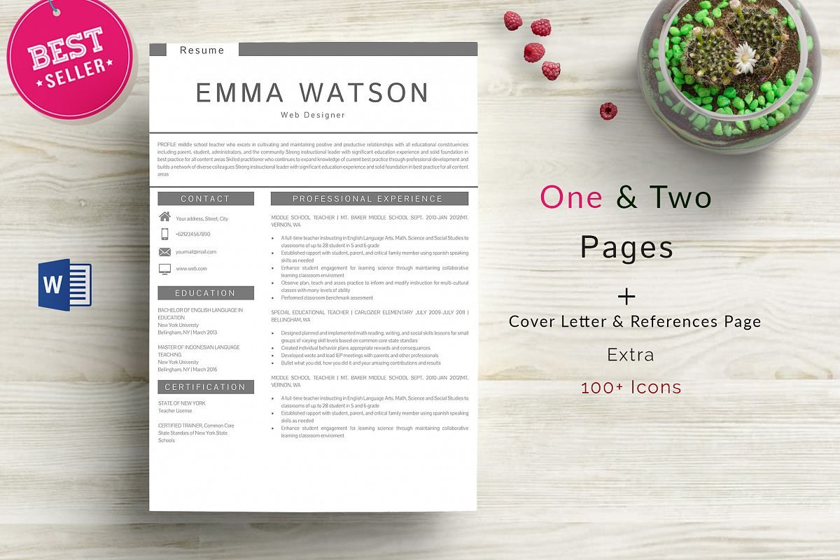 professional creative resume template 4 pages