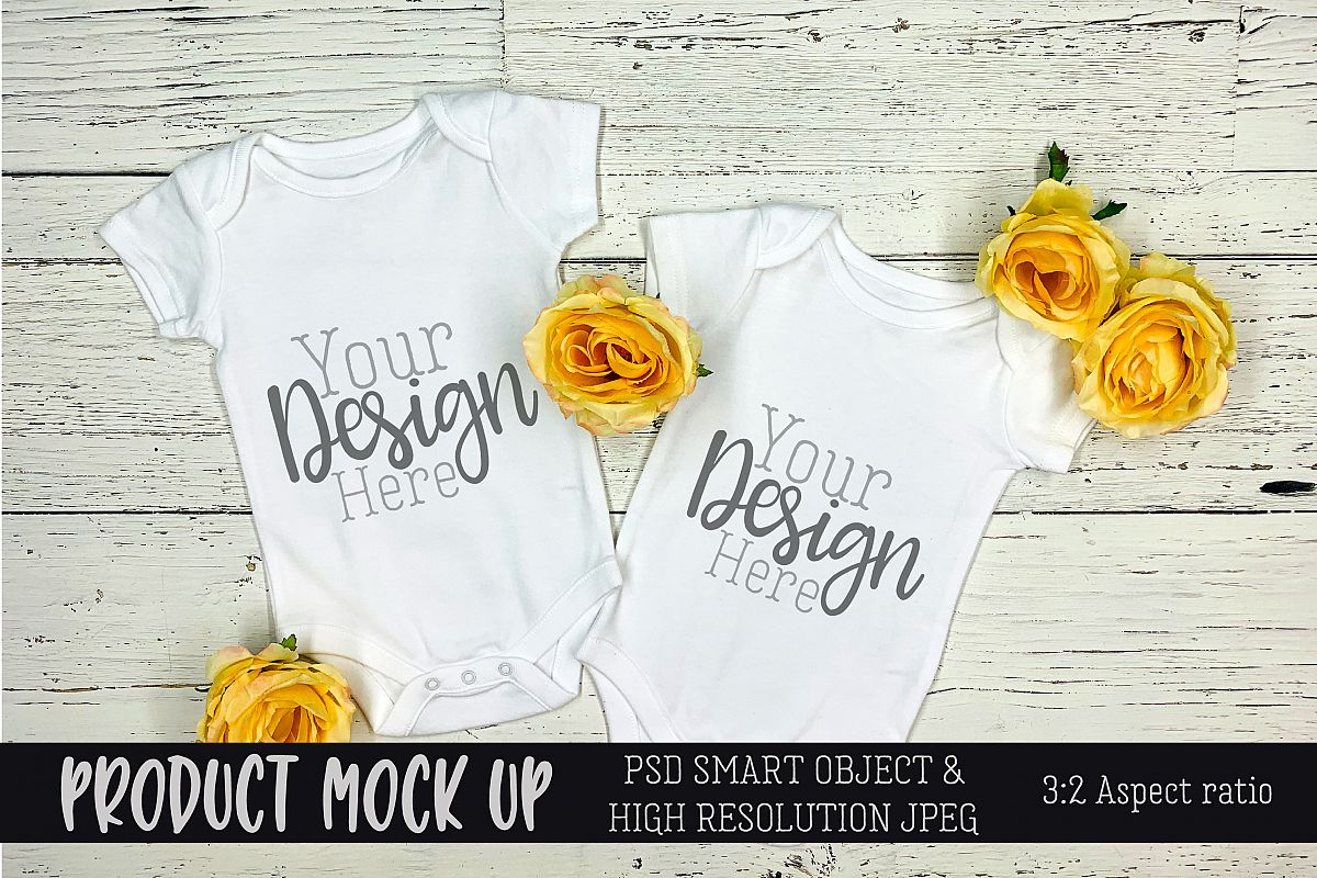 Twins baby bodysuit Craft mock up | PSD & JPEG example image 1