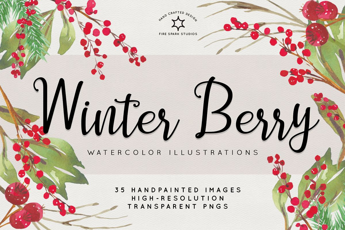 Winter Berry Watercolor Illustrations example image 1