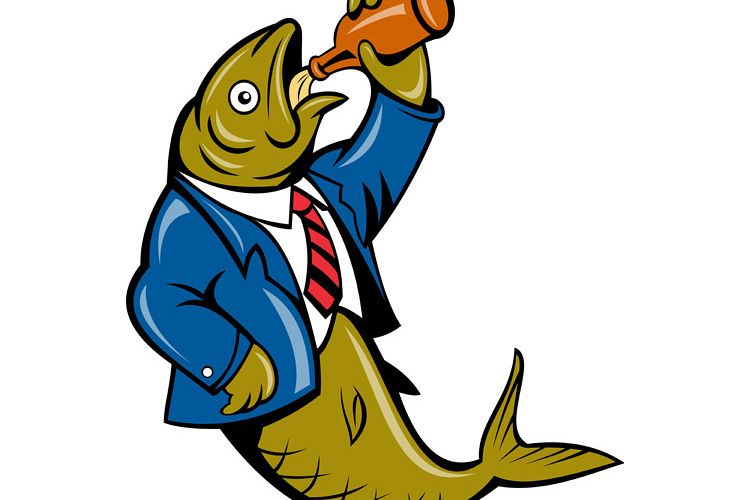 Herring fish business suit drinking beer bottle example image 1