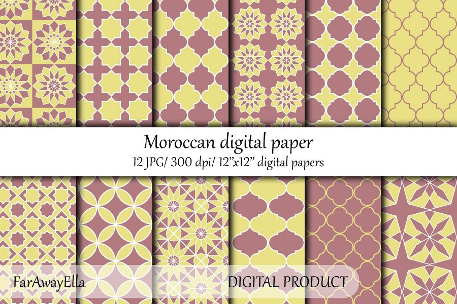 Moroccan yellow/ terracotta digital paper pack | 12 papers example image 1