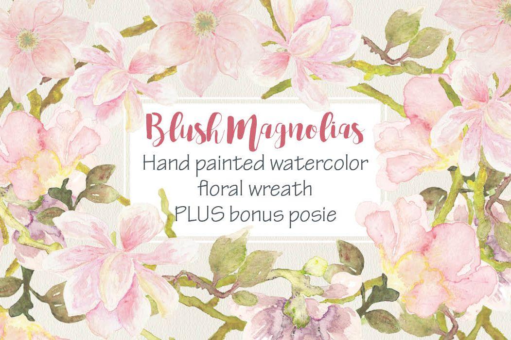 Watercolor wreath of blush Magnolias example image 1
