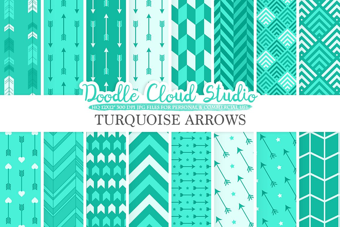 Aqua Arrows digital paper, Turquoise Arrow patterns tribal archery chevron triangles backgrounds, Instant Download Personal & Commercial Use example image 1