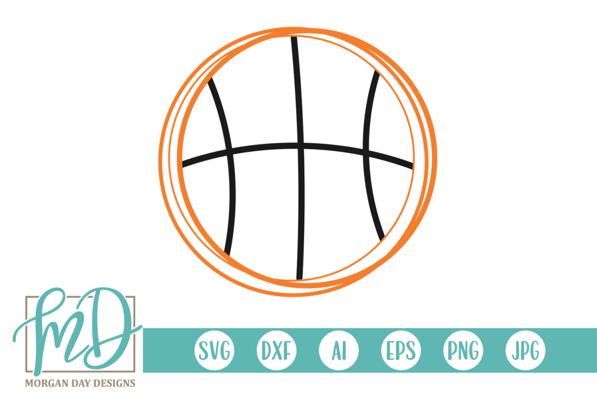 Basketball Outline SVG, DXF, AI, EPS, PNG, JPEG example image 1