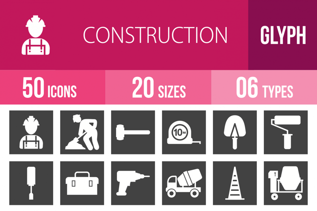 50 Construction Glyph Inverted Icons example image 1