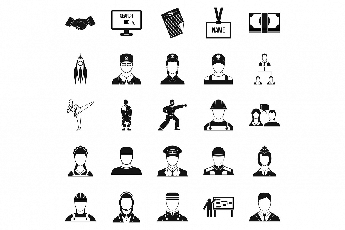 Successful man icons set, simple style example image 1