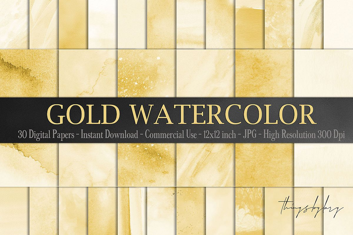 30 Ombre Gold Paint Brush Stroke Watercolor Digital Papers example image 1