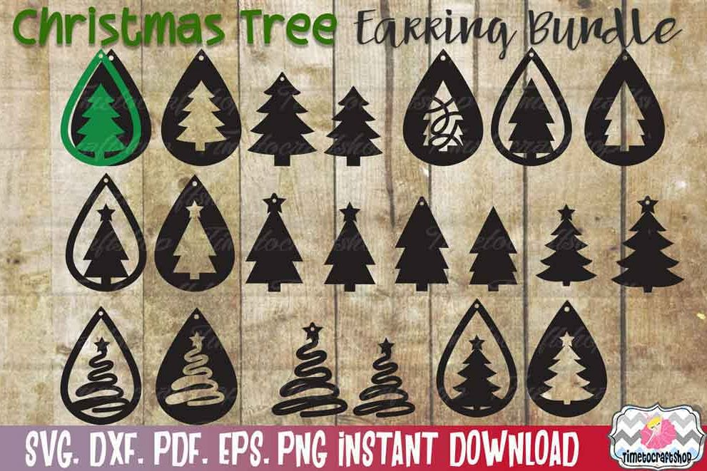 Christmas Tree Earring Template Bundle, Faux leather Earring example image 1