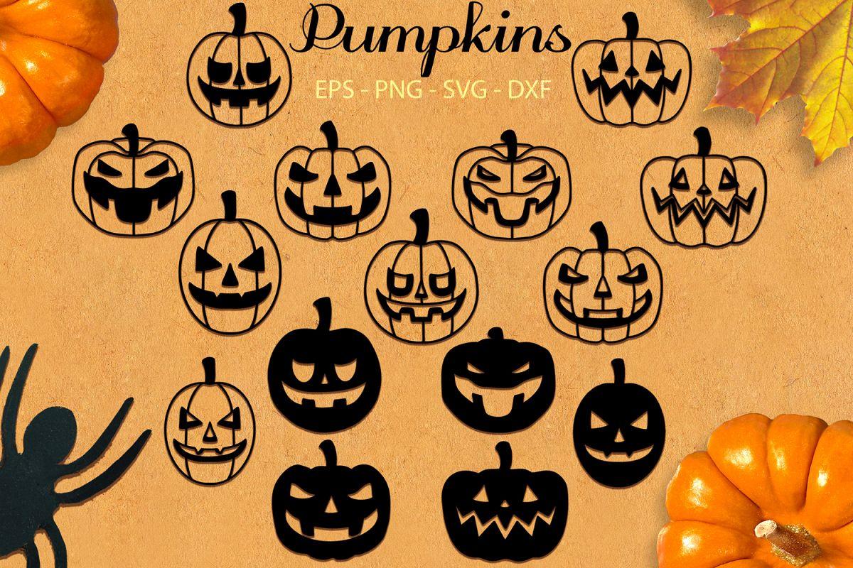 Pumpkins svg png dxf eps - Halloween Jack O Lantern example image 1