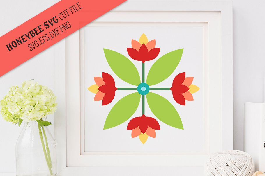 Lotus Quartet Barn Quilt SVG Cut File example image 1