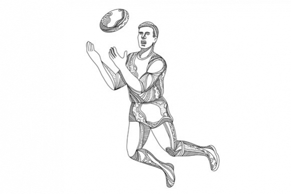 Aussie Rules Football Player Jumping Doodle example image 1