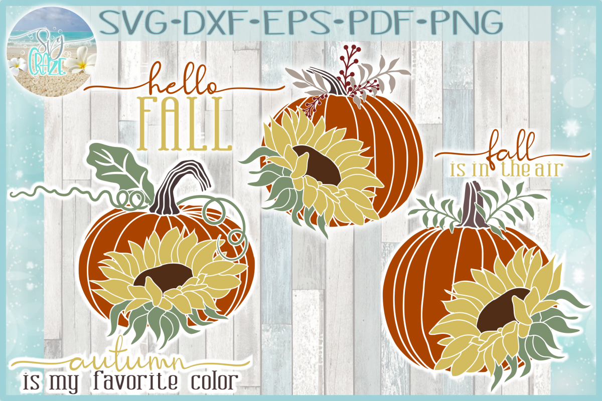 Autumn Fall Quotes Pumpkins And Sunflowers Mini SVG Bundle example image 1