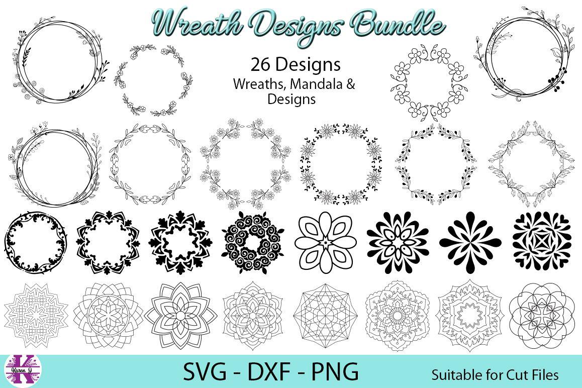 26 Wreath Designs Bundle - SVG DXF PNG - Cut Files example image 1