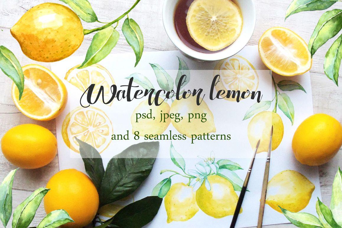 Watercolor lemon set example image 1