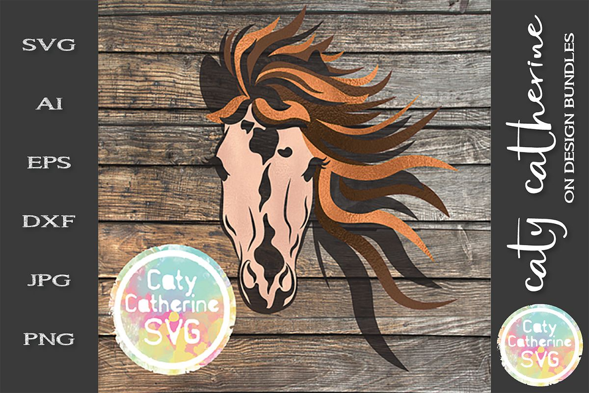 Horses Face With Long Mane SVG Cut File example image 1