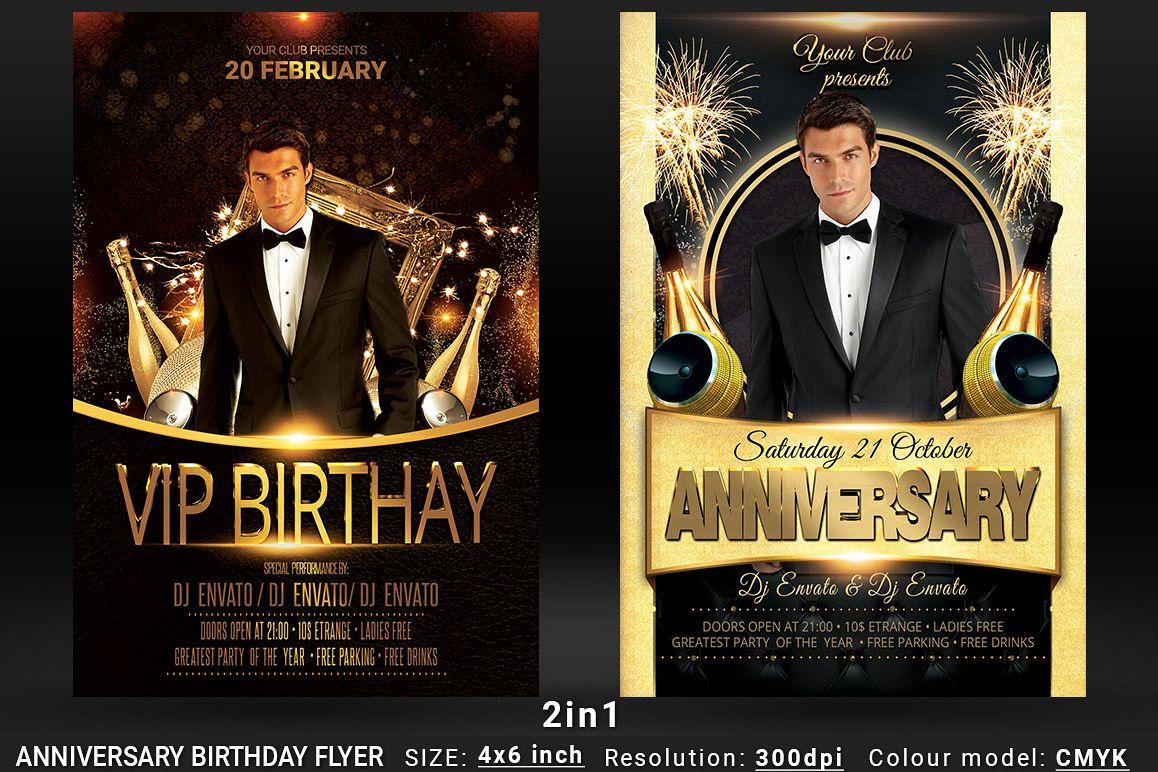 anniversary birthday bundle flyer 2in1 design bundles