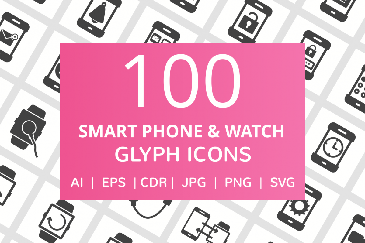 100 Smartphone & Smartwatch Glyph Icons example image 1